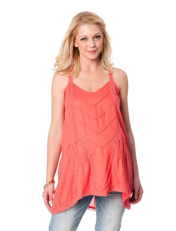 Wendy Bellissimo Swing Maternity Tunic, Coral