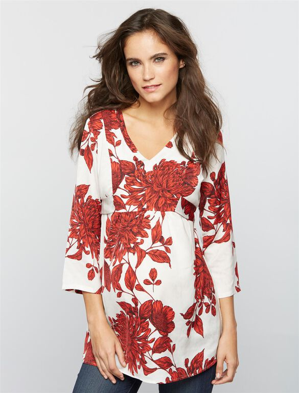 Tie Back Floral Maternity Tunic, Floral Print