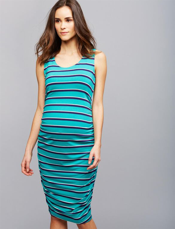 Sleeveless Side Ruched Maternity Dress- Green Stripe, Green Stripe