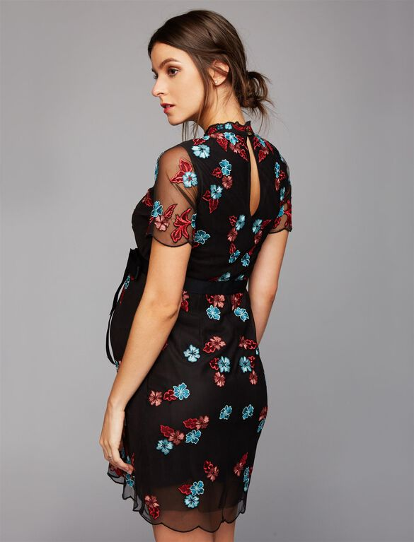 Floral Embroidered Maternity Dress, Black