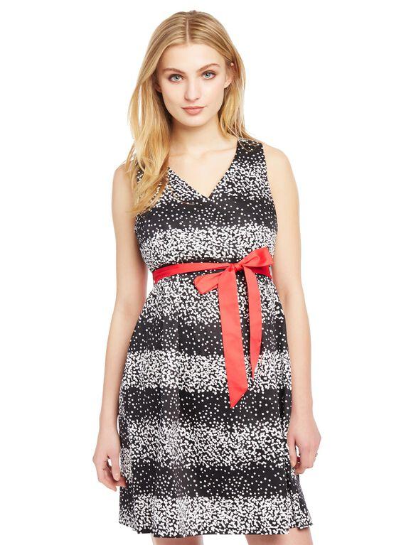 Sash Belt Sateen Maternity Dress- Dot Print, Dot Print