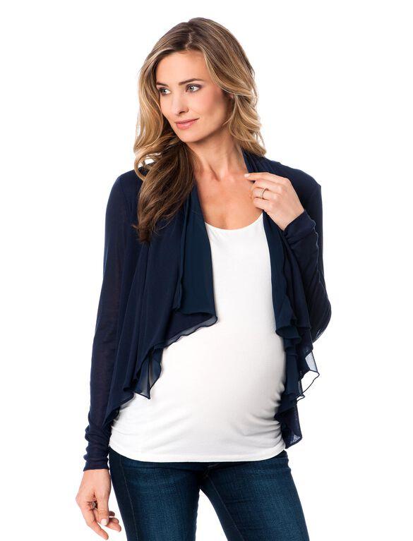 Drape Front Maternity Cardigan, Navy