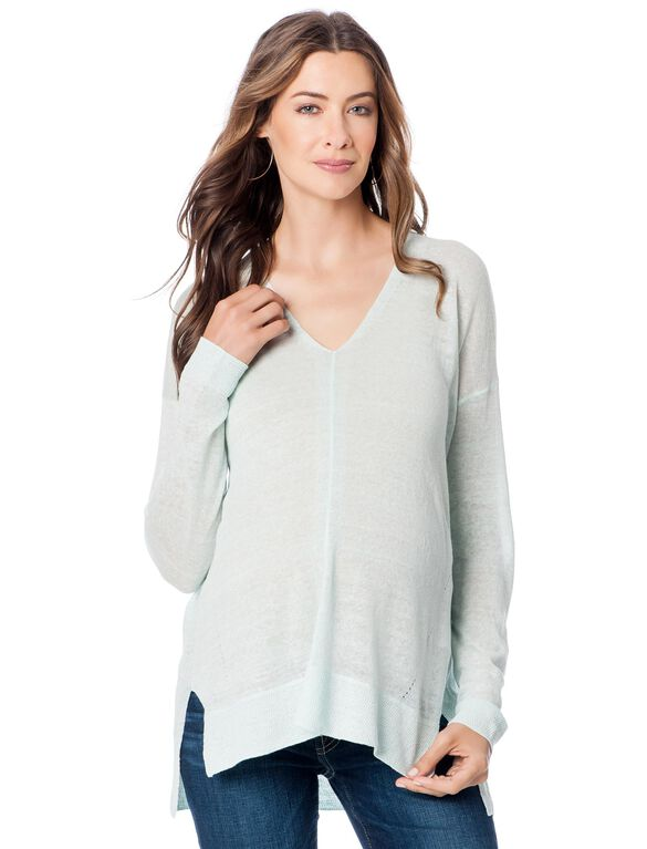 Linen Blend High Low Maternity Shirt- Aqua, Aqua