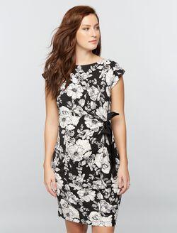 Taylor Side Tie Maternity Dress- Black/White Floral, Black/White Floral