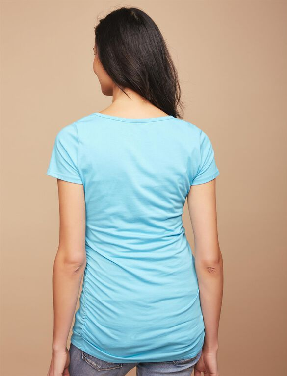 Side Ruched Maternity Tee, Blue Mist