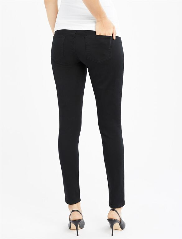 Secret Fit Belly Skinny Twill Maternity Pants- Black, Black