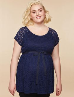 Web Only Plus Size Peplum Maternity Top, NAVY