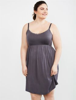 Plus Size Nursing Nightgown, Grey