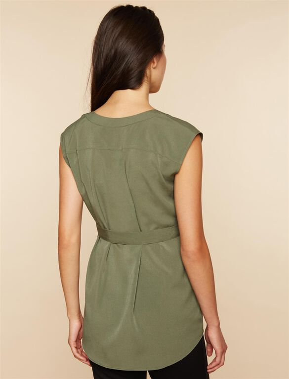 Cap Sleeve Tie Detail Maternity Tunic- Green, Green