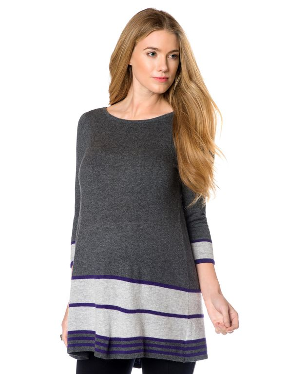 Design History A-line Maternity Sweater, Grey/Purple