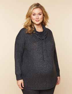 Plus Size Cowl Neck Maternity Sweatshirt, Charcoal