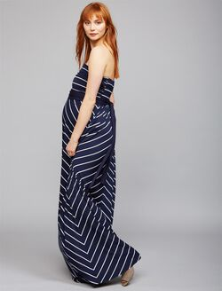 Envie de Fraise Freya Maternity Maxi Dress, BLU/WHT
