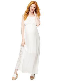 Back Interest Maternity Maxi Dress, Cream
