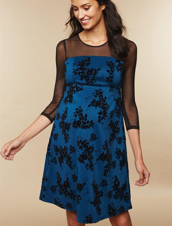 Mesh Sleeve Floral Maternity Dress, Teal
