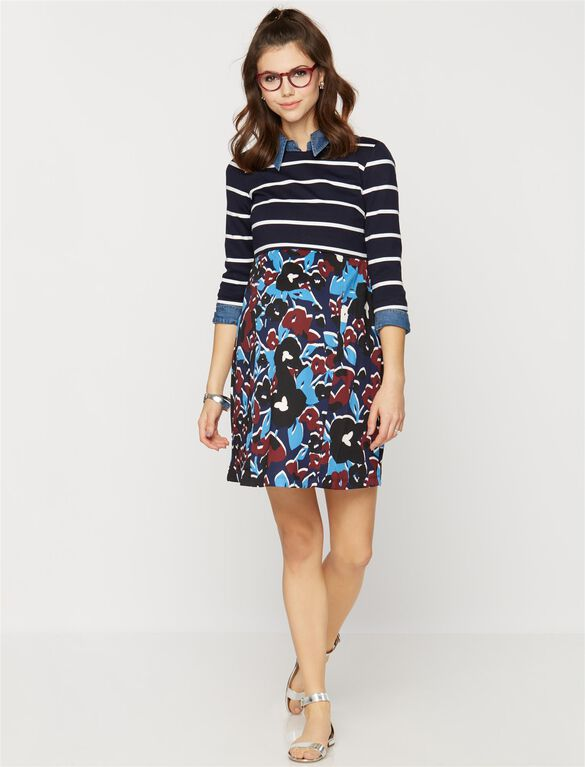 Taylor Striped Maternity Dress, Multi Print