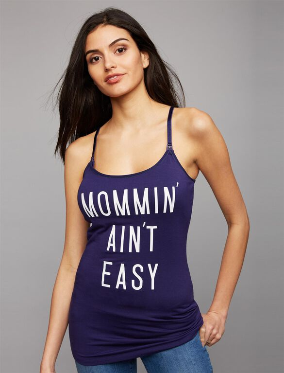 Mommin' Ain't Easy Maternity Tank, Navy