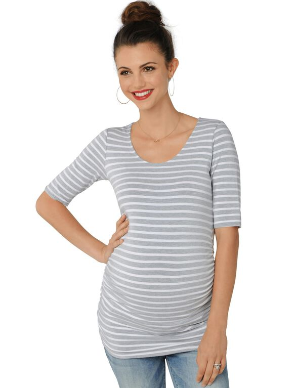 Striped Side Ruched Maternity Tee, Heather Grey/White
