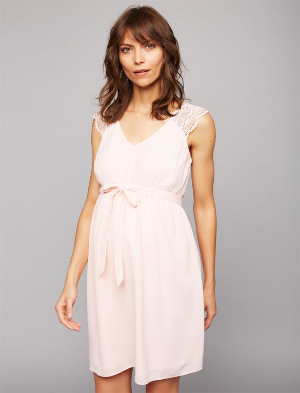 Lace Shoulder Maternity Dress- Pink, Pink