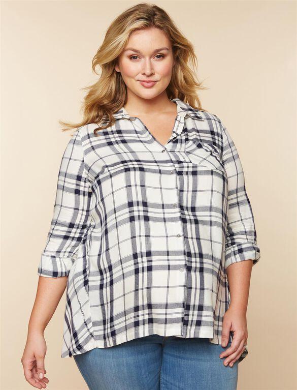 Plus Size Plaid High-low Hem Maternity Tunic, White/Navy Plaid