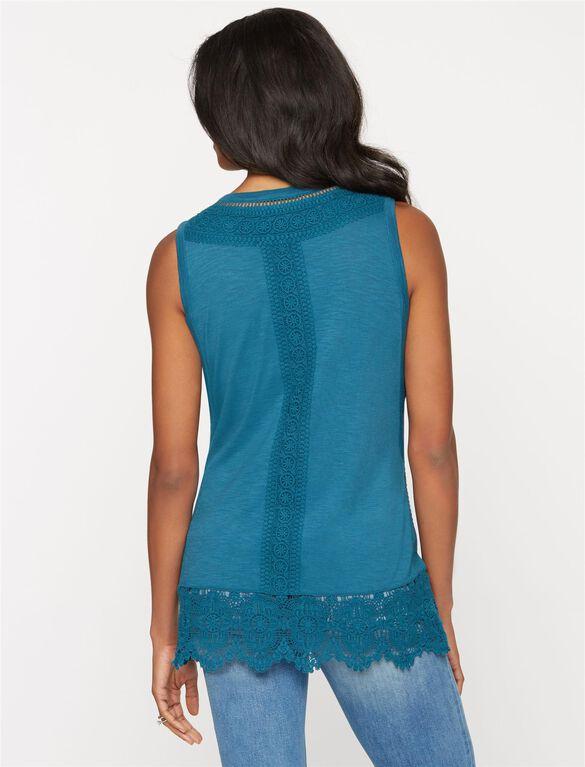 Crochet Detail Maternity Tank, Deep Turquoise