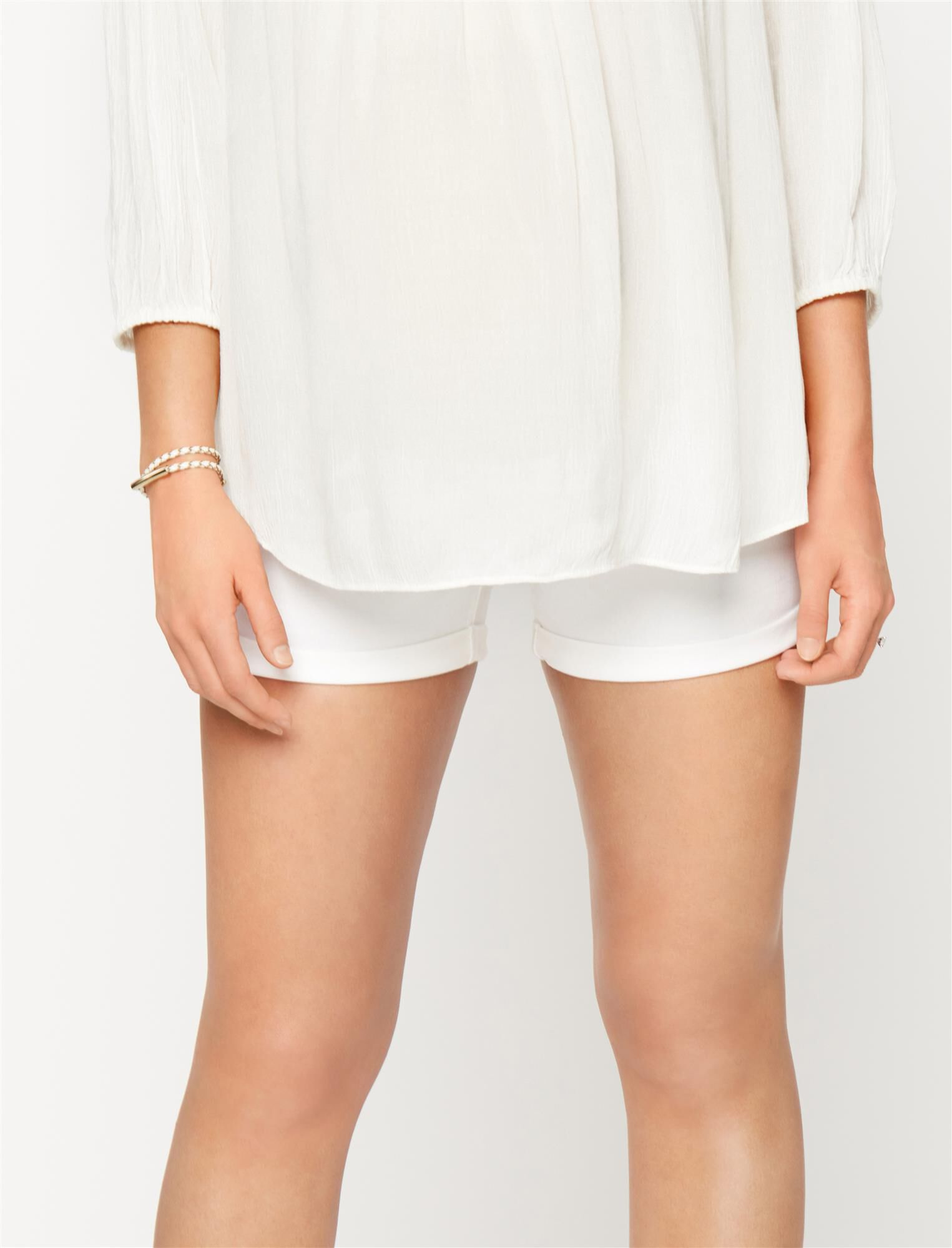 Luxe Essentials Denim Secret Fit Belly Cuffed Maternity Shorts- White