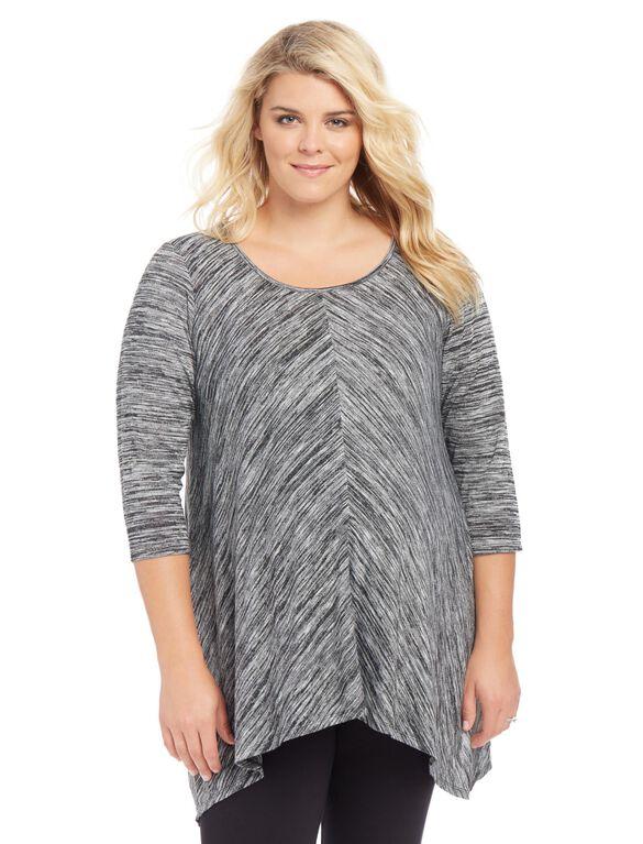 Plus Size Hanky Hem Maternity Top, Grey Space Dye