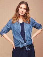 Button Front Maternity Tunic, Blue Chambray