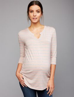 Relaxed Fit Maternity T Shirt, Blush/Grey Stripe