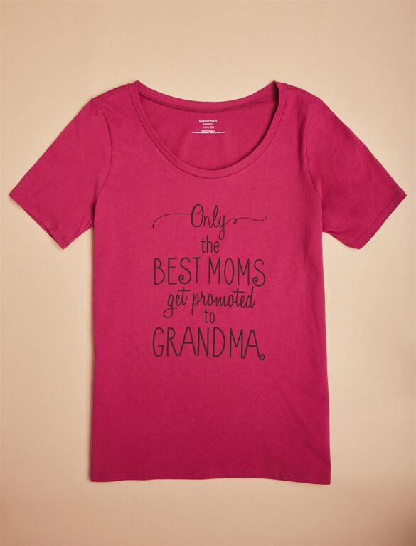 Promoted To Grandma Maternity Tee, Burgundy