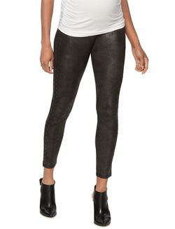 Pam and Gela Leather Maternity Leggings, Black