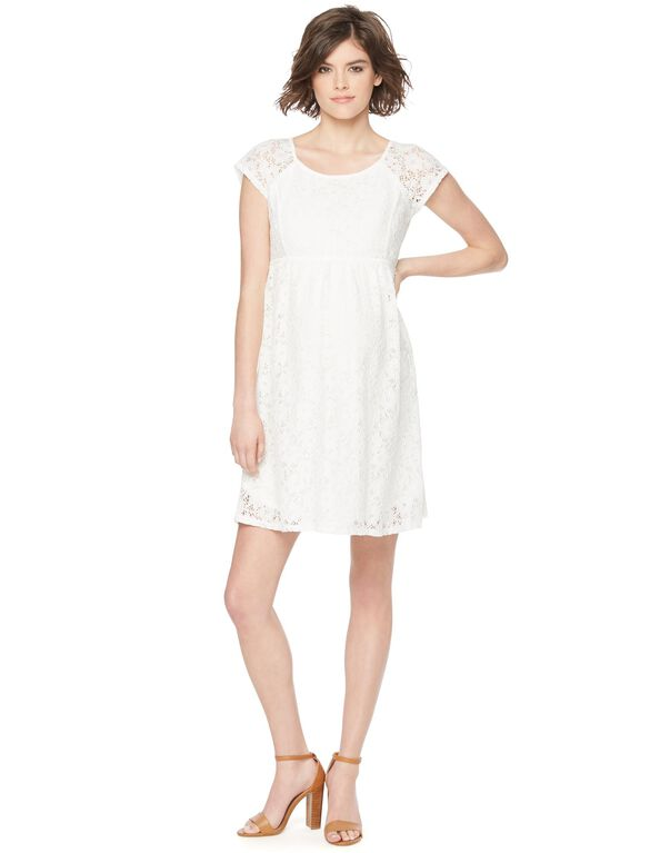 Lace Back Zip Maternity Dress, Cream