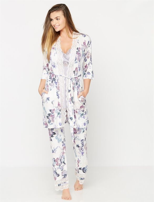 Lace Trim Floral Maternity Sleep Pant, Floral Print