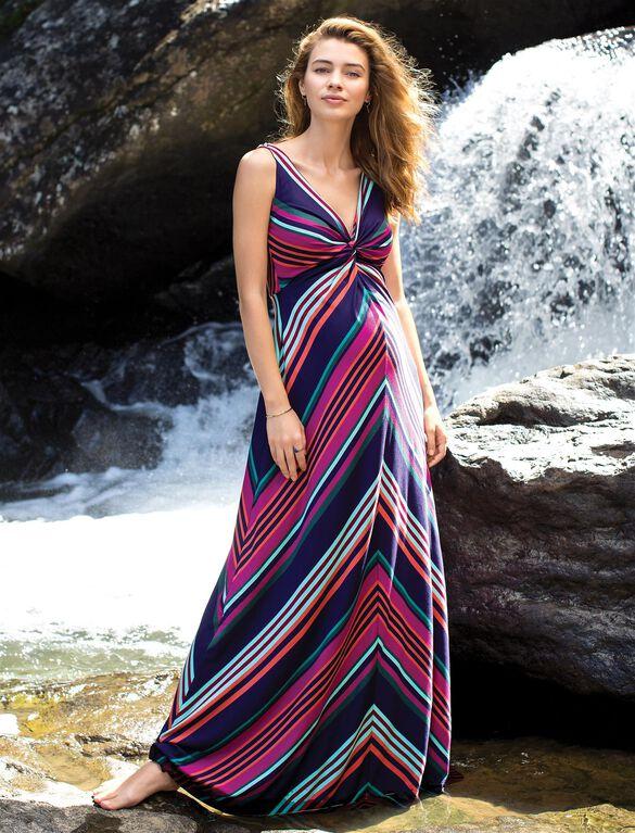 Twist Front Striped Maternity Maxi Dress, Navy Stripe