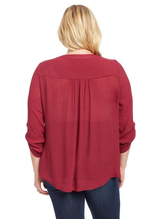Plus Size Lace Trim Maternity Tunic, Berry