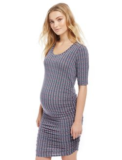 Side Ruched Maternity Dress- Dark Floral, Geo Print