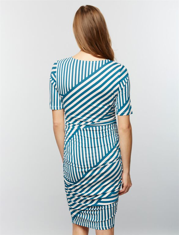 Ruched Maternity Dress- Teal/Pink Stripe, Teal/Pink