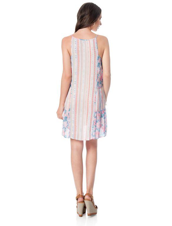 BCBGMAXAZRIA Stripe Floral Print Maternity Dress, Pink Coral