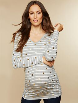 Long Sleeve Maternity Tee, Grey Metallic Dot