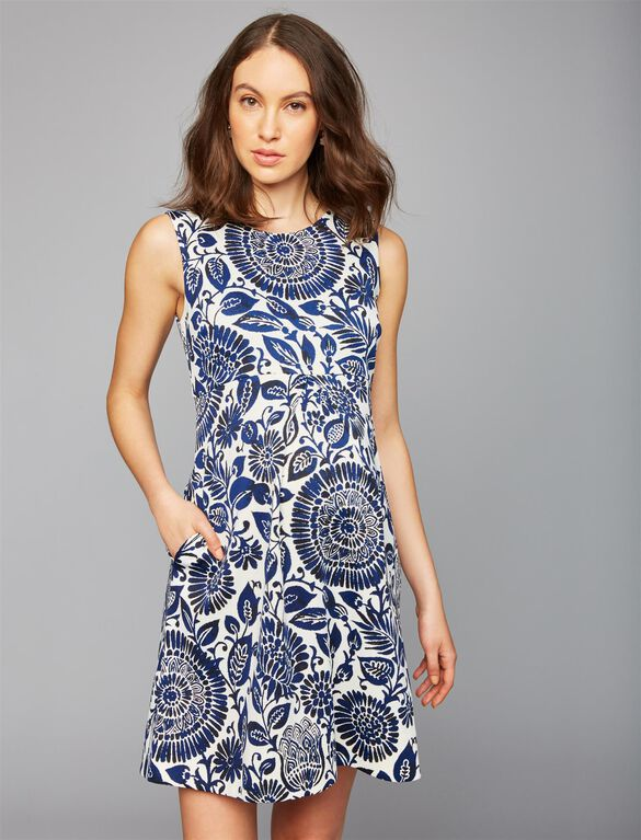 Taylor Fit and Flare Maternity Dress, Blue Tile Print