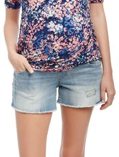Secret Fit Belly Fray Hem Maternity Shorts, Sunbleach Light Wash