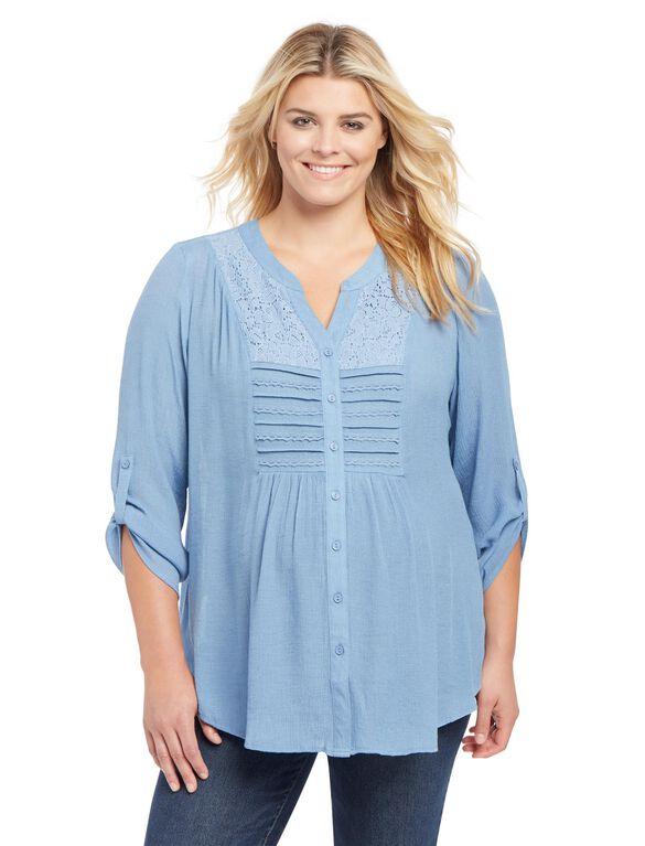 Plus Size Lace Trim Maternity Tunic, Chambray