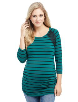 Ruched Maternity Top, Green Stripe