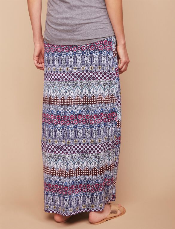 Under Belly Smock Waist  Maternity Maxi Skirt- Tribal Print, Tribal Print