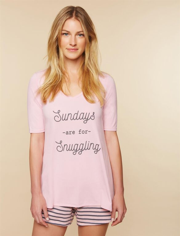 Sundays Are For Snuggling Nursing Sleep Top, Pink