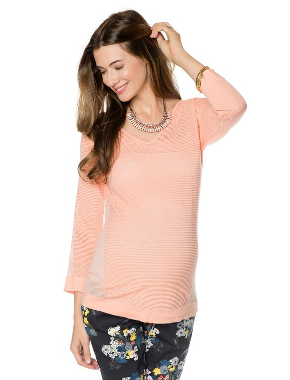 Design History Maternity Sweater, Coral