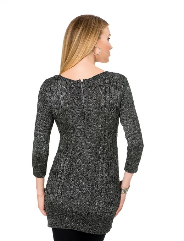Cable Knit Maternity Sweater, Black Lurex