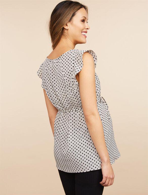 Flutter Sleeve Maternity Blouse- Black/Grey Dot, Black/Grey Dot