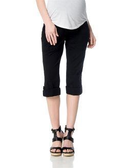 Secret Fit Belly Poplin Convertible Maternity Pants, Black