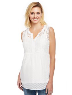 Lace Eyelet Maternity Tank, Cloud Dancer