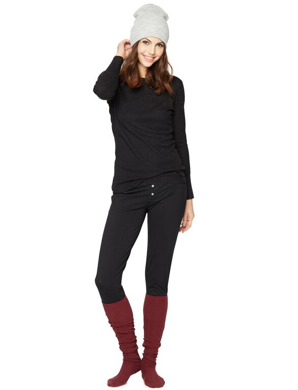 Splendid Cozy 2 Piece Maternity Pajama Set, Black